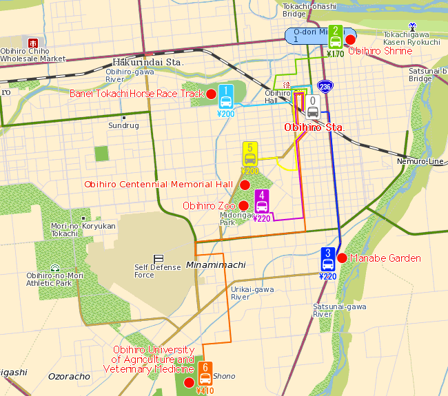 Obihiro-shi sightseeing map