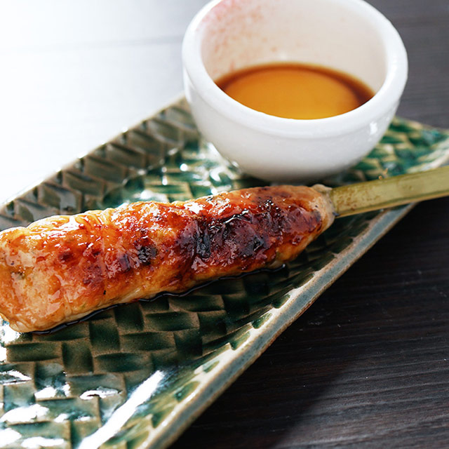 Specially made tsukune (chicken meatloaf) skewer