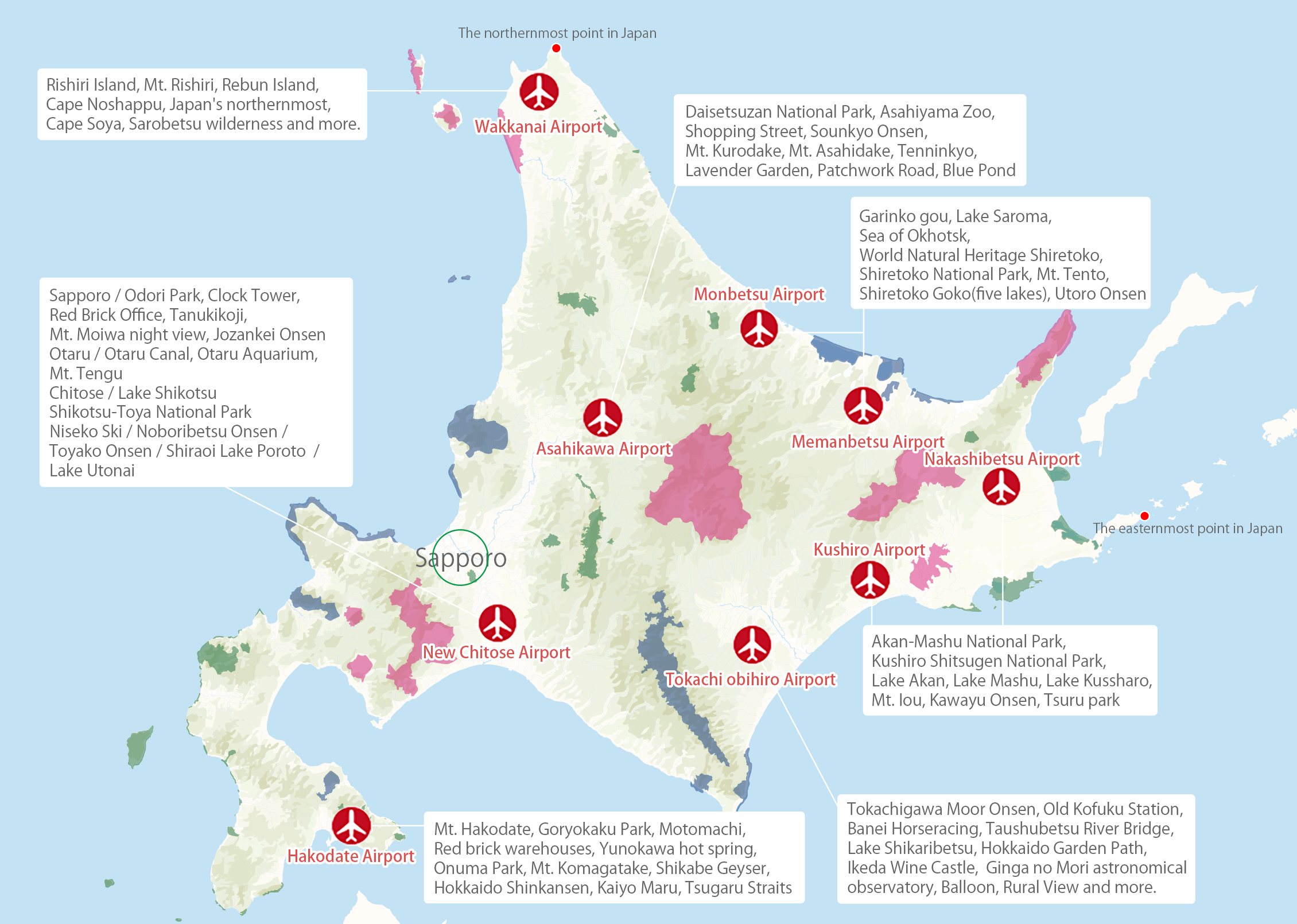 Hokkaido World Map.Hokkaido For 10 000 Yen Domestic Flight Routes Uu Hkkaido